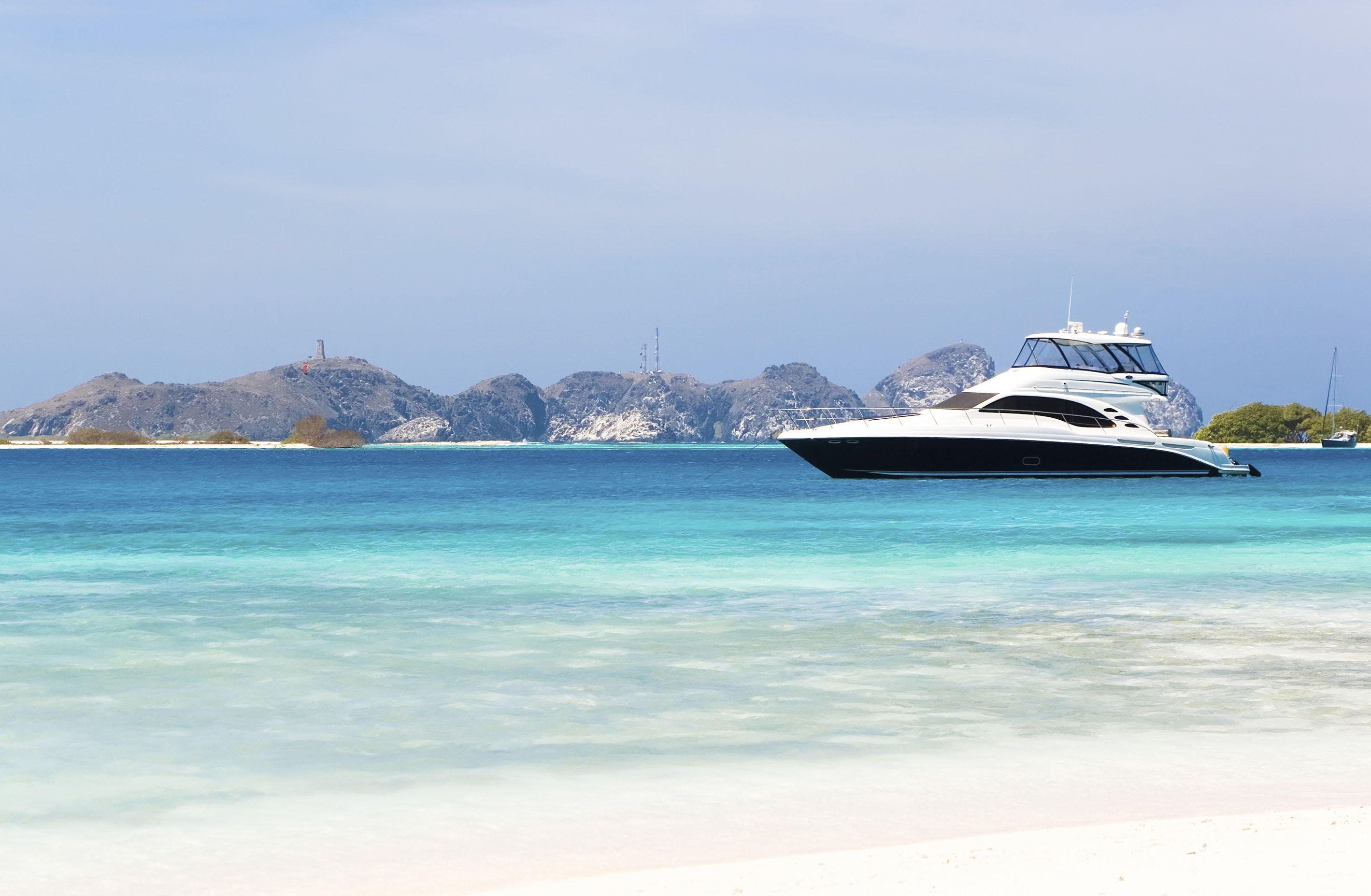 Motor yacht at anchor in the Caribbean